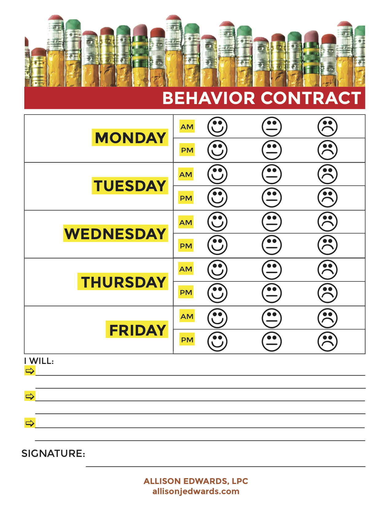 home chore chart template